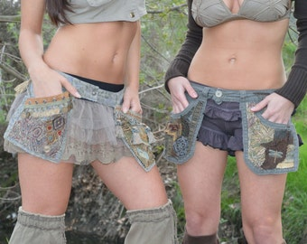 Made To Order One of A Kind Festival Belt With Hand Sewn Trim, Utility Belt, Pocket Belt, Hip Belt