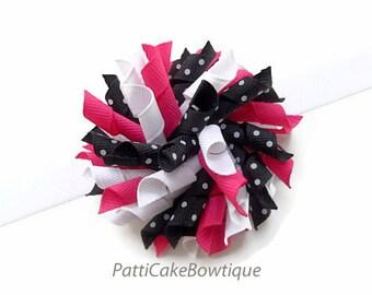 Raspberry Blue Korker Hair Bow, Shimmering White Headband, Korker Bow, Curly Hair Bow, Corker Bow, Little Girls Bow, Toddler Hair Bow, 809
