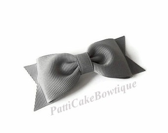 Millennium Silver Hair Bow, Grey Hair Bow, Tuxedo Bow, Silver Hair Clip, Christmas Bow, Toddler Hair Bow, Baby Hair Bow, Girls Hair Bow, 41