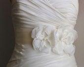 Ivory Bridal Sash, Wedding Belt, Bridal Belt, Wedding Dress Sash, Ivory Flower Sash, Bridal Accessories, Wedding Accessories, Josie Duo
