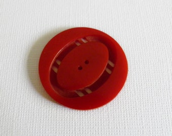Bakelite Button Cherry Red Double Cut
