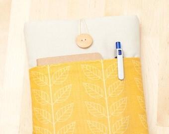 kindle cover / kindle case / kobo aura HD case / kobo mini case / Nook glowlight sleeve - yellow leaves with pockets -
