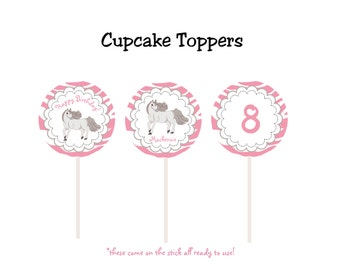 Horse Cupcake Toppers  - horseback riding birthday party --  horse party