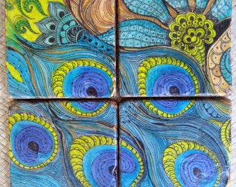 PEACOCK COASTERS handmade-set of 4  blue green brown tile coasters by devikasart