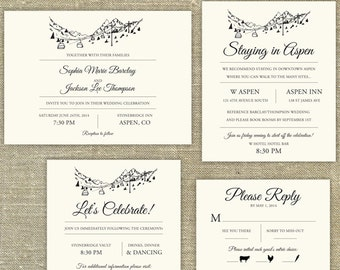 Ski Resort Skyline Destination Wedding invitation SAMPLE ONLY; Aspen, Vail, Breckenridge