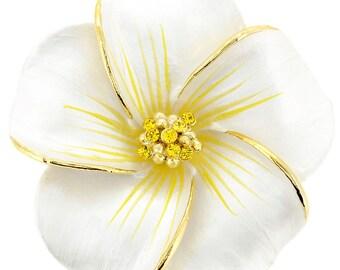 White Hawaiian Plumeria Flower Brooch/Pendant  1001262