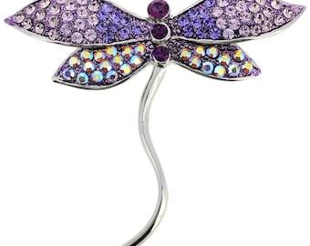 Tanzanite Dragonfly Pin Swarovski Crystal Pin Brooch 1010051