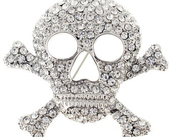 Cross Bones Skull Pin Brooch 1000431