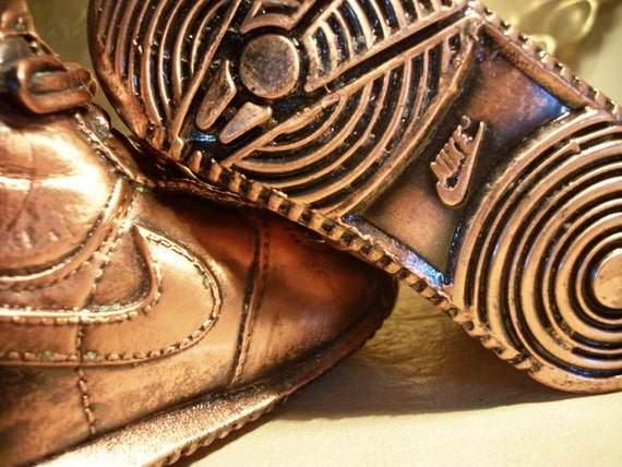 Vtg NIKE Bronze Baby Shoes Nikes Shoe Bronzed Vintage Nursery