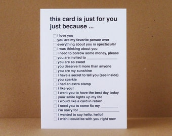 All Purpose Just Because Greeting Card - Black - Check Off - List - Thinking of You - Funny