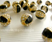 8 Rhinestone ball beads Cloisonne beads-gold plated with Clear Rhinestones in Black color-10mm