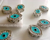 Evil eye (3D) -- 5pcs Silver  tone with crystal Rhinestone Connector(pendant) in turquoise blue (18x14x5)jewelry making