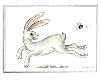 Original ACEO White rabbit & the bee..  Original Painting Watercolor Card collectible fine art