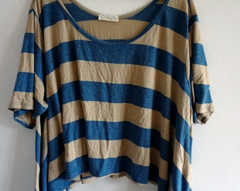 Blue and Beige Stripe Box T-Shirt