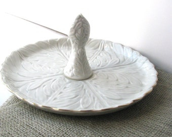 Elegant Serving Platter, Cream and Gold Embossed with Handle