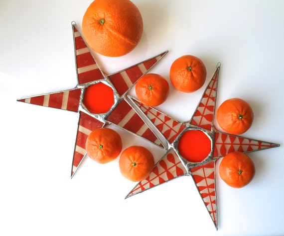 Katy Star- Juicy Orange Star-- 9 inch lacquered and stained glass star