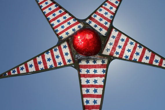 Stars and Stripes- 8.5 inch lacquered glass star in red white and blue