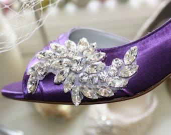 Purple Wedding Shoes - Crystal Shoes - Purple Wedding - Purple Shoes - Purple Heels - Dyeable Shoes - Choose From Over 100 Colors - Parisxox