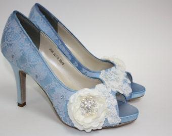Wedding Shoes - Lace Shoes - Blue Lace Shoes - Handmade Flower - Crystals - Handmade Wedding - Platform - Choose Over 100 Colors - Parisxox