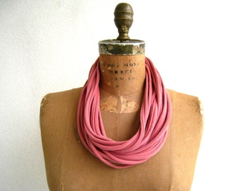 Womens TShirt Necklace Scarf Necklace Recycled Tee Scarf Ecofriendly Cotton Necklace Gift for Her ohzie