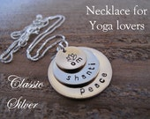 Yoga Peace Necklace with Lotus Flower - Custom 3 Stacked Bronze and Silver Yoga necklace - slightly cupped