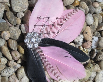 Pink and Black Feather Fascinator