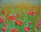 "Clearance sale, poppies print of my original painting, field at sunset, titled ""Breakthrough Poppies"" by AquagirlArt"