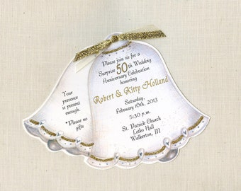 Personalized and Handcut Party Invitations - 50th Wedding Anniversary Party Invitations - Golden Wedding Bell Invitations - Set of 60