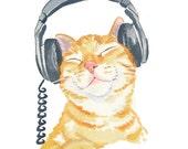 Cat Watercolor PRINT - Orange Tabby, Music Lover, Music Art, Cat Illustration, 11x14 Art Print, Open Edition