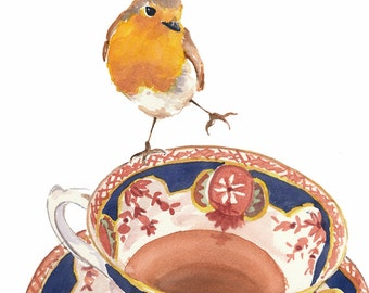 Robin Watercolour PRINT - Teacup Watercolor, Bird Painting, 11x14 Art Print