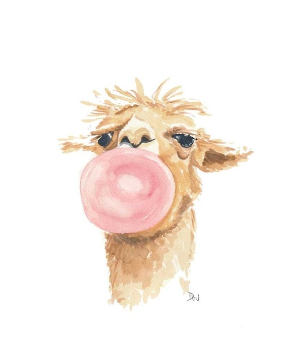 Llama Watercolor Original Painting Bubblegum By Waterinmypaint