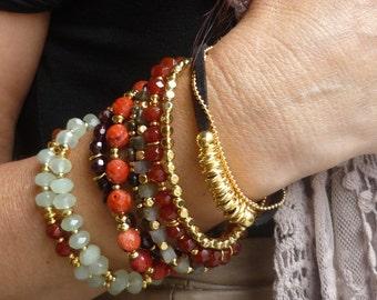 Gold beaded bracelet,  gold bracelet with beads, gold hammered beads, simple gold bracelet