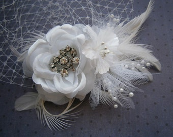 White, feather, Wedding, hair, accessory, Bridal veil, Feathered, Fascinator, clip, Accessories, Facinator - WHITE ROSE