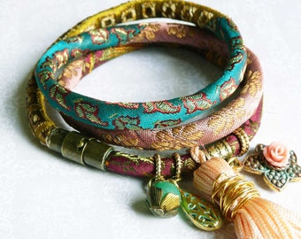 green and peach pure silk brocade wrap bracelet