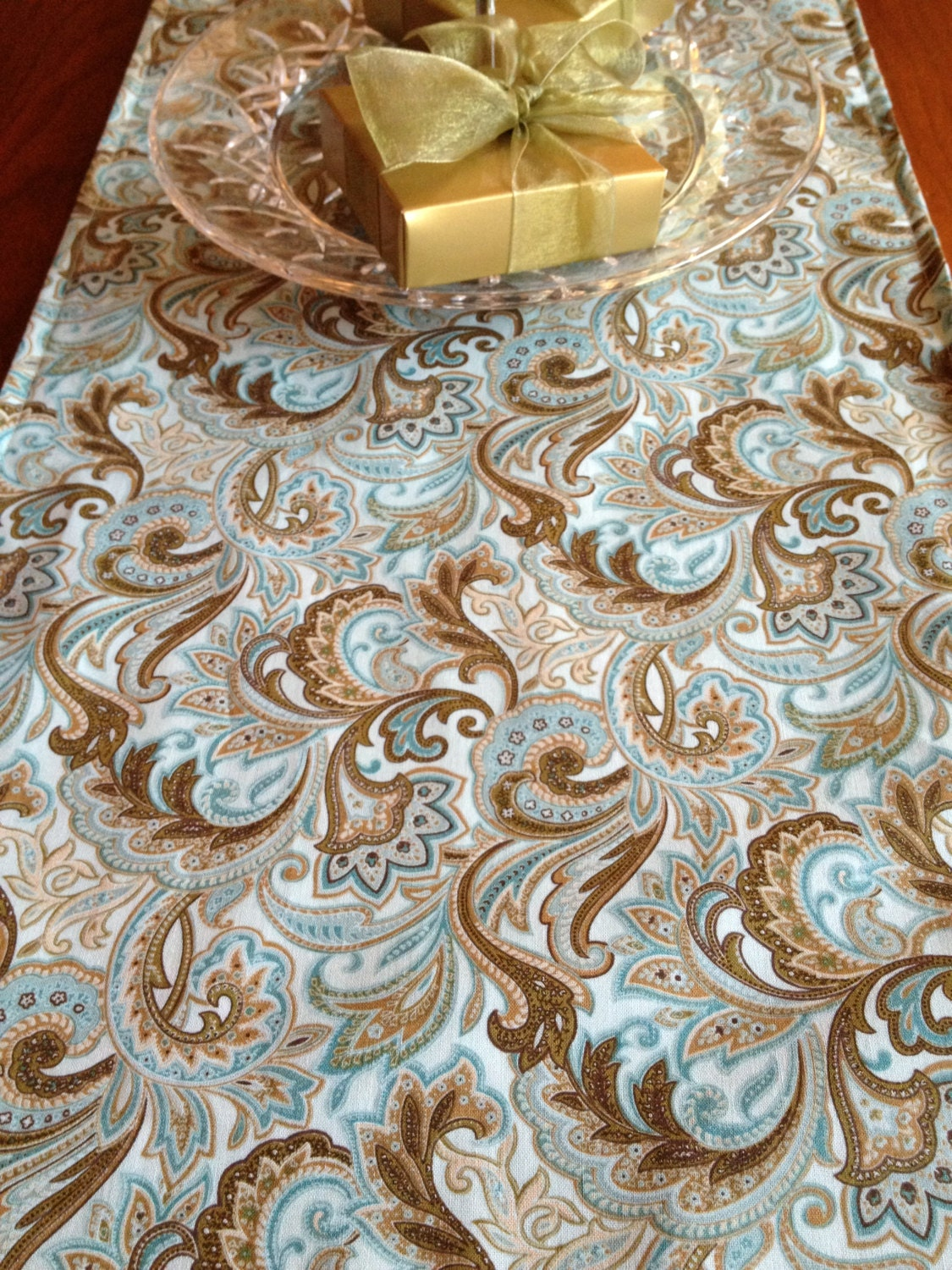 Table runner 120 aqua teal paisley by sewmuchfrommichele for 120 table runners