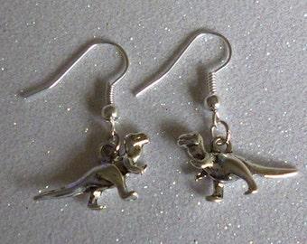 Dinosaur Silver Tone Charm Earrings