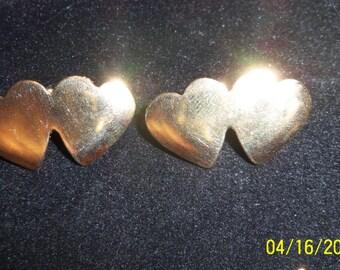 Vintage Gold Tone Double Heart Stud Earrings, Double Heart Earrings