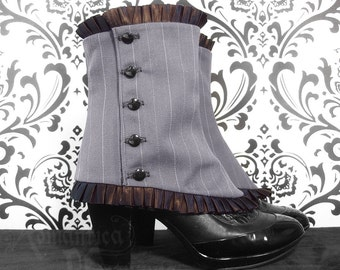 Victorian ladies' pinstripe spats with pleated trim