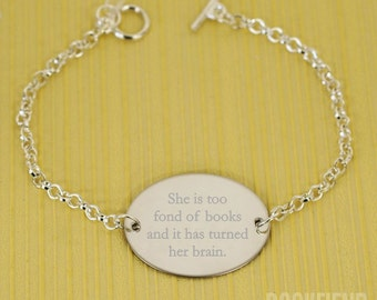 she is too fond of books engraved bracelet