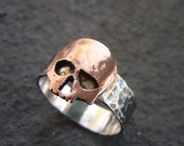 Large hammered Sterling Silver and Copper Skull Ring