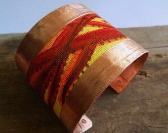 Hand Painted Canvas on Copper Cuff Bracelet