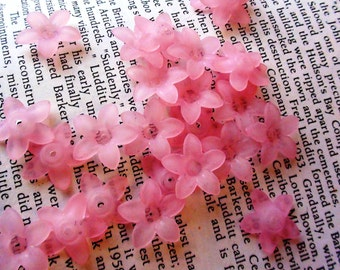 12 pcs Light Pink Flower Lucite Frosted Bead Caps 17mm