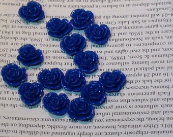Blue Resin Flower Cabochon 14mm