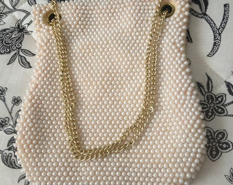 REDUCED Retro White Pearl Beaded Handbag