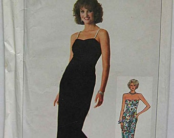 Vintage 80's Misses' Fitted Dress in 2 Lengths, Evening Gown, Simplicity 7853 Sewing Pattern UNCUT Sizes 6-8-10