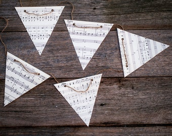 Music theme wedding decorations, paper bunting made from vintage sheet music
