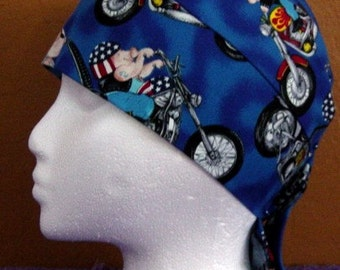 Blue Skull Cap With Hogs on Hogs, Hats, Chemo Cap, Hair Loss, Biker, Alopecia, Head Wrap, Do Rag, Motorcycle, Helmet Liner, Surgical Cap