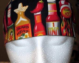 Skull Cap with Bottles of Hot Sauce, Chemo Cap, Students, Beer, Food, Wings, Mexican Restaurants, Bars, Chefs, Cooks, Handmade, Alopecia,