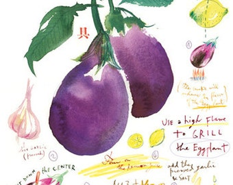 Grilled eggplant recipe, Kitchen print, Food illustration, Vegetable art, Botanical poster, 8X10, purple, watercolor