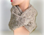 Silk Hand Knit Infinity Scarf Cowl - Handmade Cowl Knit - Original Look - Women Men Knitted Neck Scarf - Winter Fashion - Beige Scarf